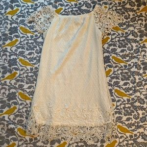Flying Tomato Cream Crochet Dress EUC Size M